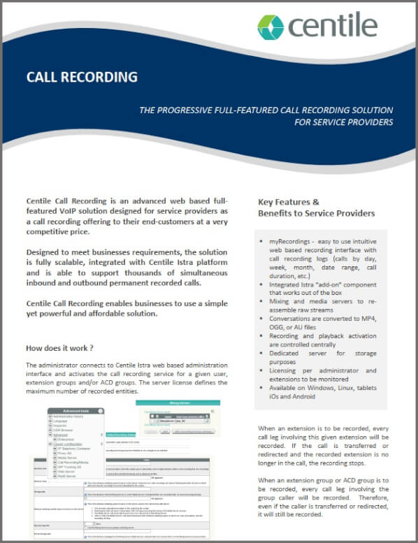 Centile ISTRA Unified Communications Call recording