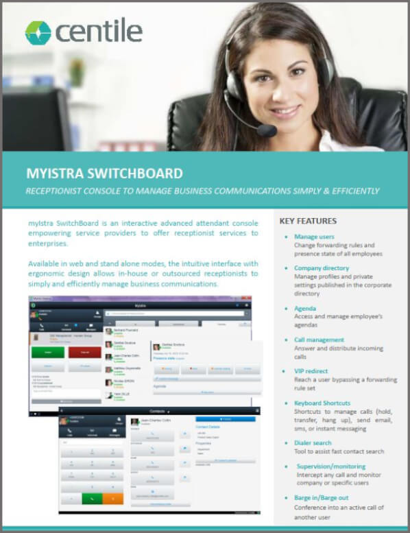 Centile ISTRA Unified Communications web Switchboard