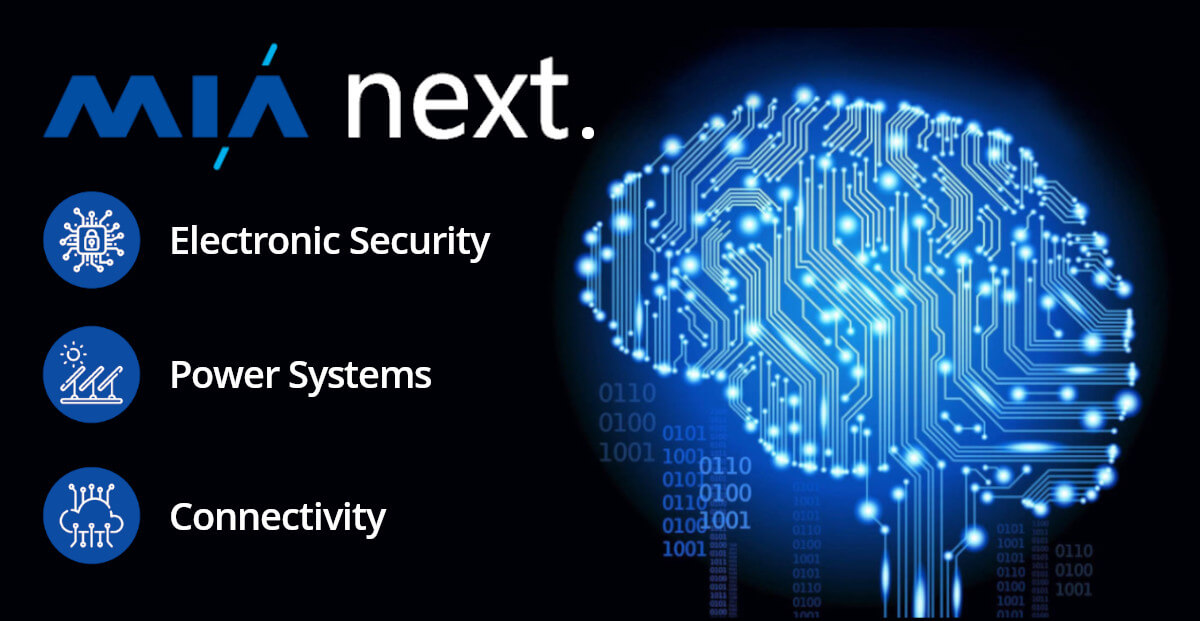 MIA next. Smart Electronic Security Solutions for business.